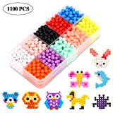 ANTOGOO Fuse Water Beads Kit, 10 Colors 1100 Water Spray Perler Beads Art Crafts Toys for Kids