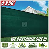 ColourTree 2nd Generation 4' x 50' Green Fence Privacy Screen Windscreen Cover Fabric Shade Tarp Netting Mesh Cloth - Commercial Grade 170 GSM - Heavy Duty - 3 Years Warranty - CUSTOM SIZE AVAILABLE