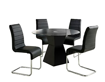 Furniture of America Ethervale 5-Piece Modern Round Dining Table Set with 12mm Tempered Glass Top, Black Finish