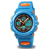 Kids Digital Sport Watch, Boys Girls Waterproof Sports Outdoor Watches Children Casual Electronic Analog Quartz Wrist Watches with Alarm Stopwatch (Blue Blue) (Color: Blue Blue)