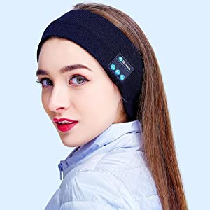 Bluetooth Headband Headphones for Women & Man, Pococina Wireless Music Earphone for Sleeping Running Yoga, Built in Mic (Black)