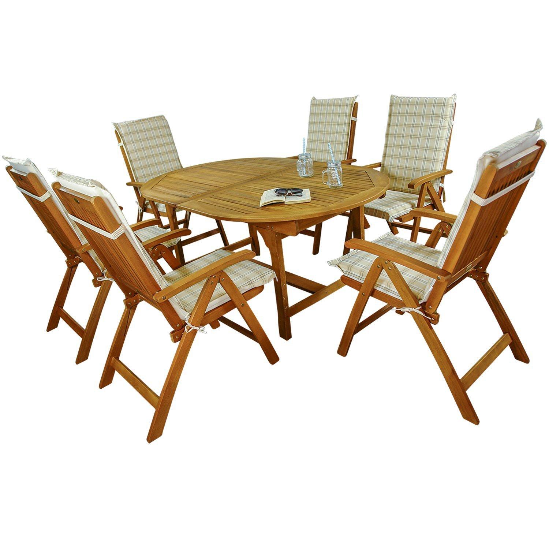 indoba® IND-70048-BASE7 + IND-70411-AUHL - Serie Bali - Gartenmöbel Set 13-teilig aus Holz FSC zertifiziert - 6 klappbare Gartenstühle + ausziehbarer Gartentisch + 6 Comfort Auflagen Karo Beige