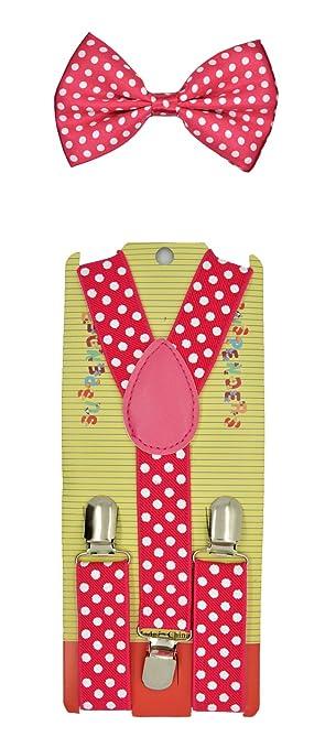 """Kids Children Babies """"Pink"""" Polkadot Suspender & Bow tie Set"""