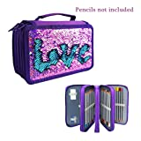 Sparkly Flip Sequins 72 Slots Pencil Case Zippered Colored Pencil Pouch Crayon Organizer Bag Cosmetic Brush Holder (Violet-Blue) (Color: Violet-blue, Tamaño: 7.9