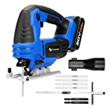 PROSTORMER 20V Max Cordless Jig Saw with LED, Variable Speed, Tool-free Bevel Cutting Adjustment, 6 Pieces Blades, Scale Ruler, 2.0Ah Lithium-Ion Battery and Fast Charger Included