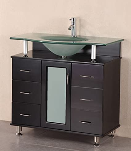 Design Element Huntington Single Drop-In Sink Vanity Set with Integrated Tempered Glass Countertop, 36-Inch