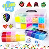 Fuse Beads, 21,000 pcs Fuse Beads Kit 22 Colors 5MM for Kids, Including 8 Ironing Paper,48 Patterns, 4 Pegboards, Tweezers, Perler Beads Compatible Kit by INSCRAFT (Color: INSCRAFT new fuse beads kit)