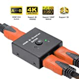 Uervoton HDMI 2.0 Switch, 2 Ports Bi-Directional HDMI Switcher 1 in 2 Out or 2 in 1 Out, Supports Ultra HD 4K@60Hz 3D 1080P for Nintendo Switch, Ps4, Ps3, Xbox One, Roku 3 and HDTV (Color: Black, Tamaño: Small)