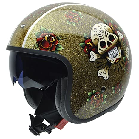 NZI 050287G744 Rolling Graphics Skull'n'Roses, Casque de Moto, Taille S Multicolore