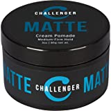 Matte Cream Pomade - Challenger 3oz - Medium Firm Hold - Water Based, Clean & Subtle Scent, Travel Friendly. Men's Hair Wax, Fiber, Clay, Paste, Styling Cream All In One (Tamaño: 3OZ)