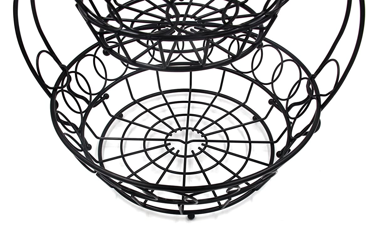 ESYLIFE 2 Tier Removable Fruit Bowel Basket Stand Wire Bread Fruit Storage Rack, Black