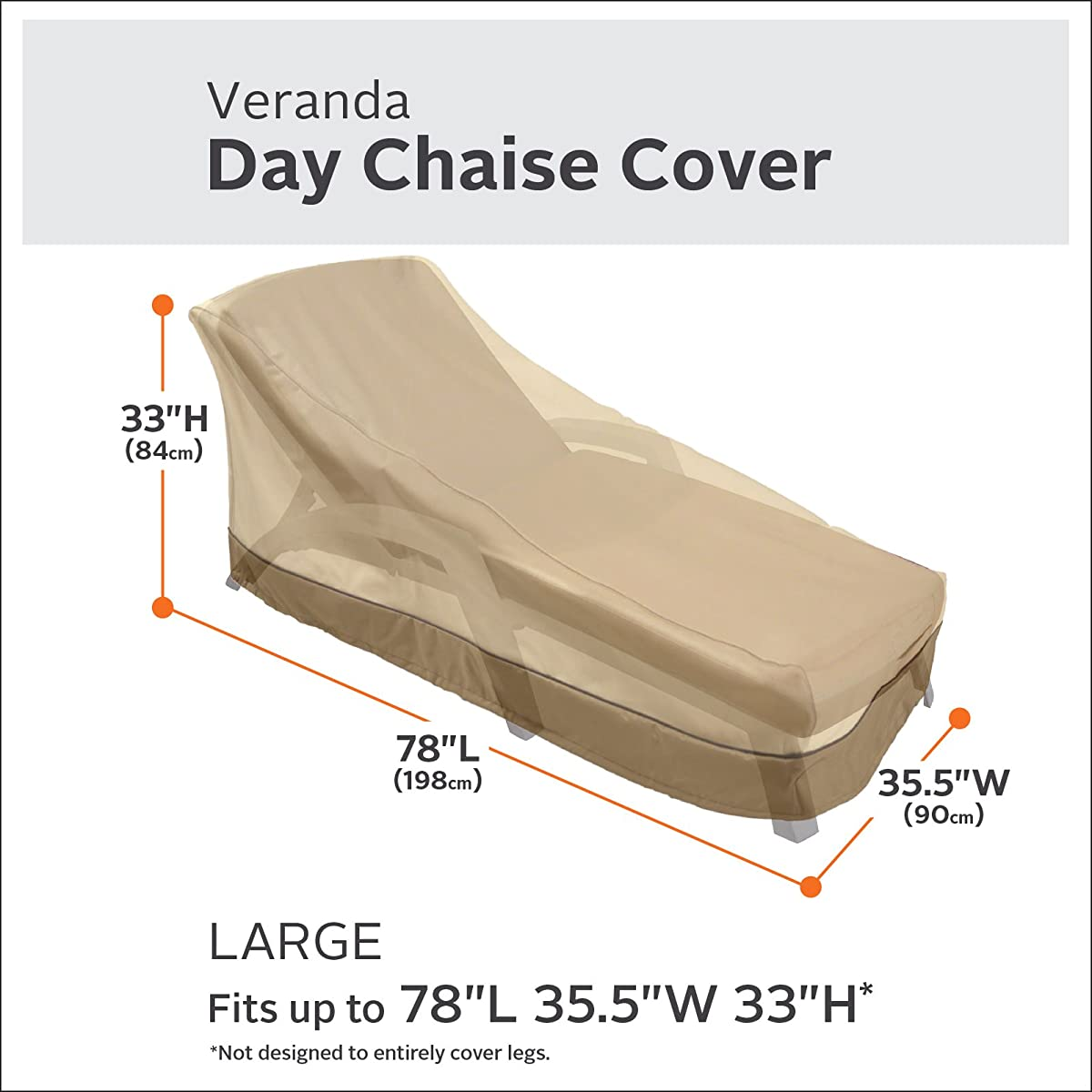 Classic Accessories Veranda Day Chaise Chair Cover - Durable and Water Resistant Patio Cover, Large
