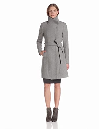 Vince Camuto Women's Funnel Neck Wool Coat with Studded Sleeves