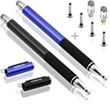 MEKO(TM) (2 Pcs)[2 in 1 Precision Series] Disc Stylus/Styli Bundle with 4 Replaceable Disc Tips, 2 Replaceable Fiber Tips for All Touch Screen Devices - (Black/Blue) (Color: Black/Blue, Tamaño: 2pcs)