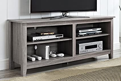 "New 58"" Modern Tv Console Stand - Ash Grey Finish"