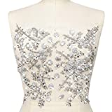 Pure Handmade Beaded Bright Sew on Rhinestone Crystal Trim Sewing Beaded Flower Appliques For Wedding Dresses Patches Waist Decoration Chest Waist Accessory 10.6x12.2? (Silver) (Color: Silver)