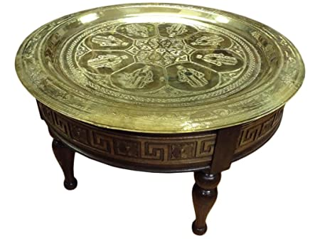 Moroccan Engraved Khamsa Hands Brass Tray Top Carved Wood Coffee Table