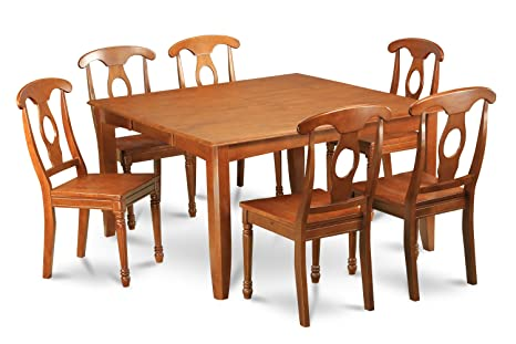 East West Furniture PFNA9-SBR-W 9-Piece Formal Dining Table Set