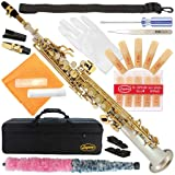300-2C-SILVER Body/GOLD Keys Bb STRAIGHT SOPRANO Saxophone Sax Lazarro+11 Reeds,Care Kit~22 COLORS~SILVER or GOLD KEYS~CHOOSE YOURS ! (Color: NICKEL/LACQUER Keys)