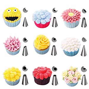 Xindinyi 38-in-1 Baking Supplies Cake Decorating Kits Tips with Storage Case, 32 Stainless Steel Icing Piping Tips with 2 Flower Nails, 2 Silicone Piping Bags and 2 Reusable Couplers (Color: Nozzle-1, Tamaño: 0.5L)