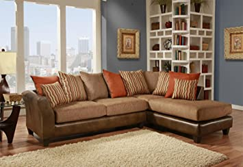 Chelsea Home Furniture Iota 2-Piece Sectional, McLarin Saddle/Council Mocha