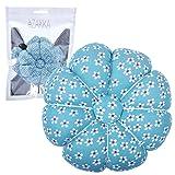 eZAKKA Wrist Pin Cushion Polka Pumpkin Wrist Band Pin Cushions Wearable Needle Pincushions for Sewing (Old Blue Flower) (Color: Old Blue Flower)