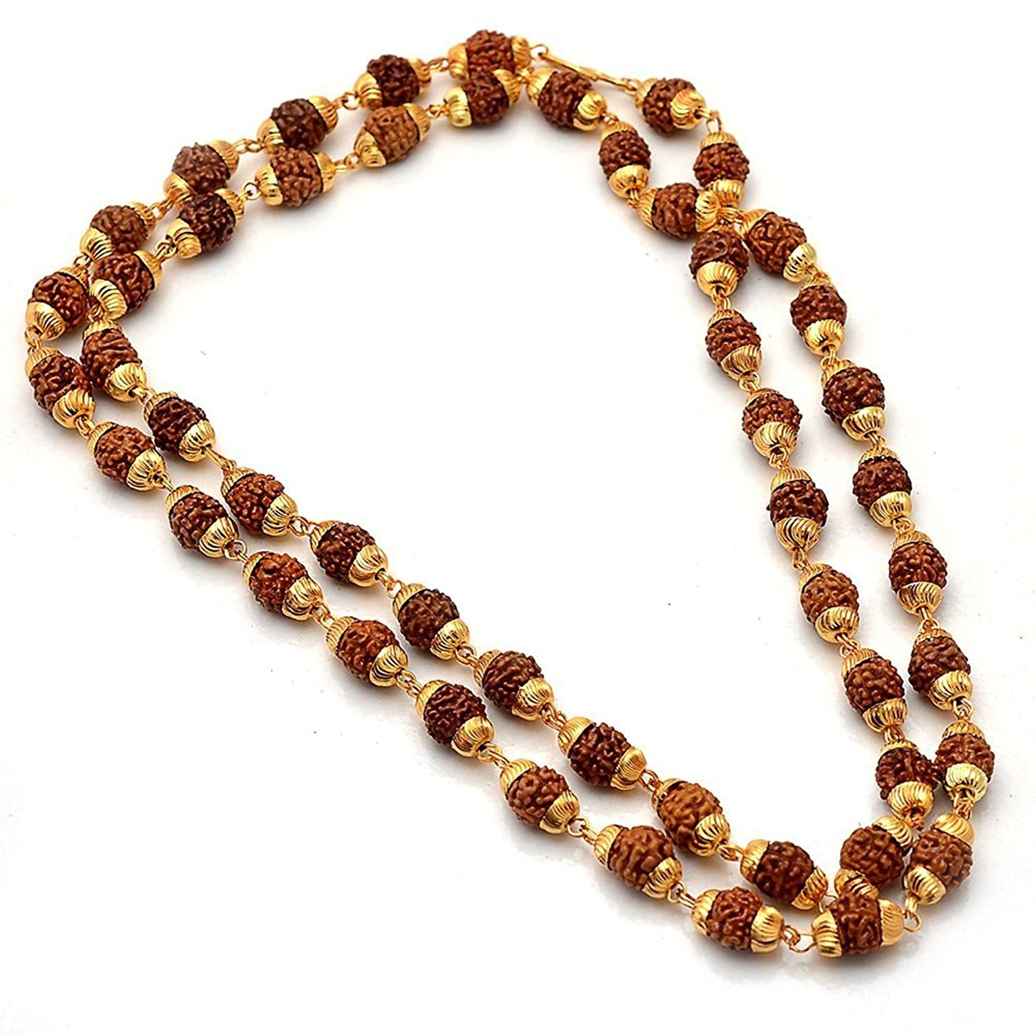 Spangel Fashion RUDRAKSH MALA Shiva God gold plated rudraksh mala chain long 24 inches