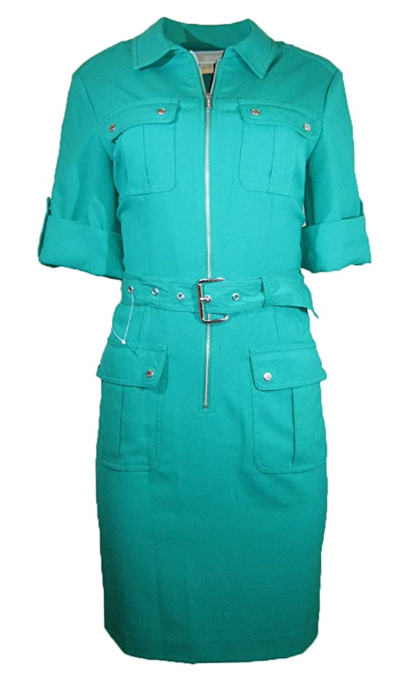 Michael Michael Kors Rolled Sleeve Zip-front Dress Pepper Green
