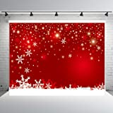 7x5ft Red Winter Photography Backdrops Customized Snowflake Photo Studio Background Props Christmas (Color: Winter Red, Tamaño: 7x5ft)