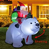 Kemper King 6 Foot Christmas Inflatables Santa on Bear, Airblown Inflatable Bear with Santa and Gifts, Lighted for Home Outdoor Yard Lawn Decoration (Color: santa on bear)