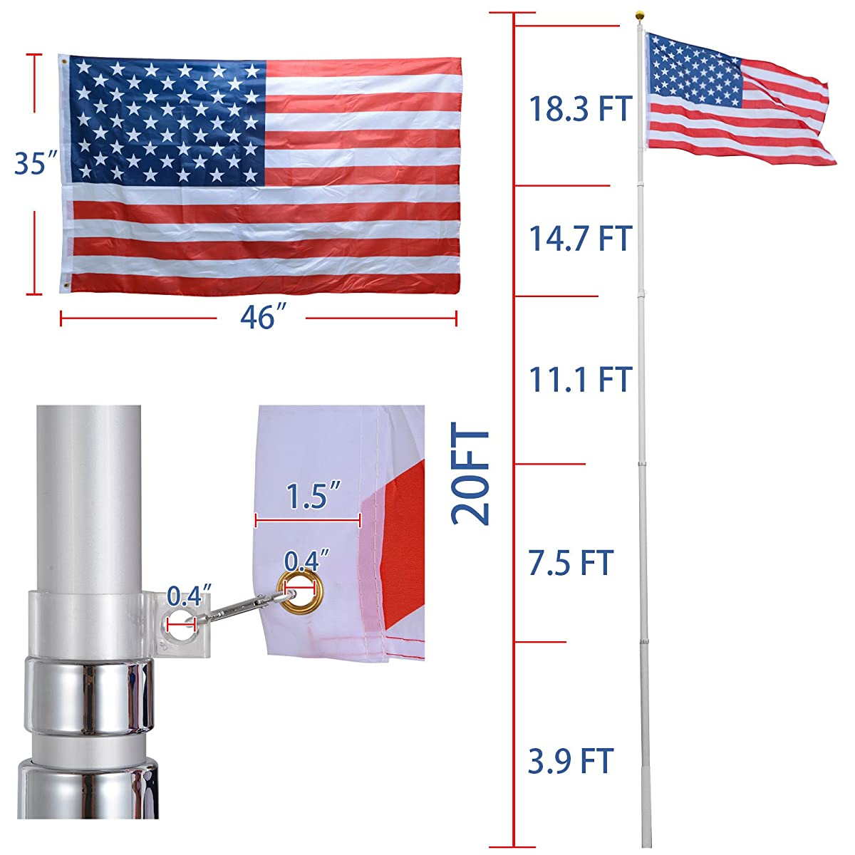 Voilamart 20ft Flagpole Telescopic 5 Sectional Fly 2 Flags, Outdoor Aluminum Flag Pole Kit with the American Flag, Great for Residential or Commercial