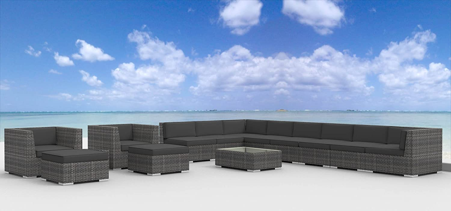 www.urbanfurnishing.net Urban Furnishing - NEWPORT 14pc Modern Outdoor Backyard Wicker Rattan Patio Furniture Sofa Sectional Couch Set - Charcoal at Sears.com