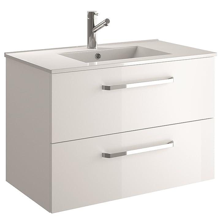 Cygnus Bath Silvya - Mobile da bagno sospeso 2 cassetti, 60 cm, maniglie in metallo, finitura bianco lucido