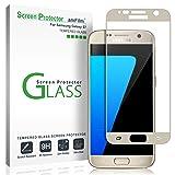 Galaxy S7 Screen Protector Glass (Full Screen Coverage), amFilm Bye-Bye-Bubble Samsung Galaxy S7 Gold Tempered Glass Screen Protector AT&T Verizon 2016[Gold]