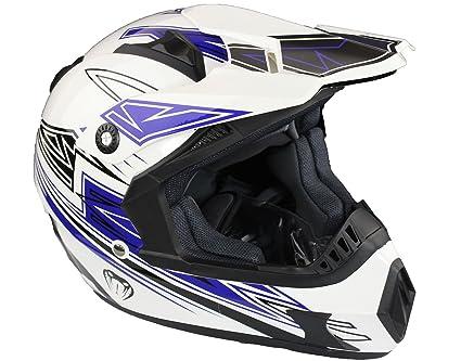 Qtech - Casque Viper de moto/enduro/MX tout-terrain - noir, rouge, orange et bleu - Bleu - M (57-58 cm)