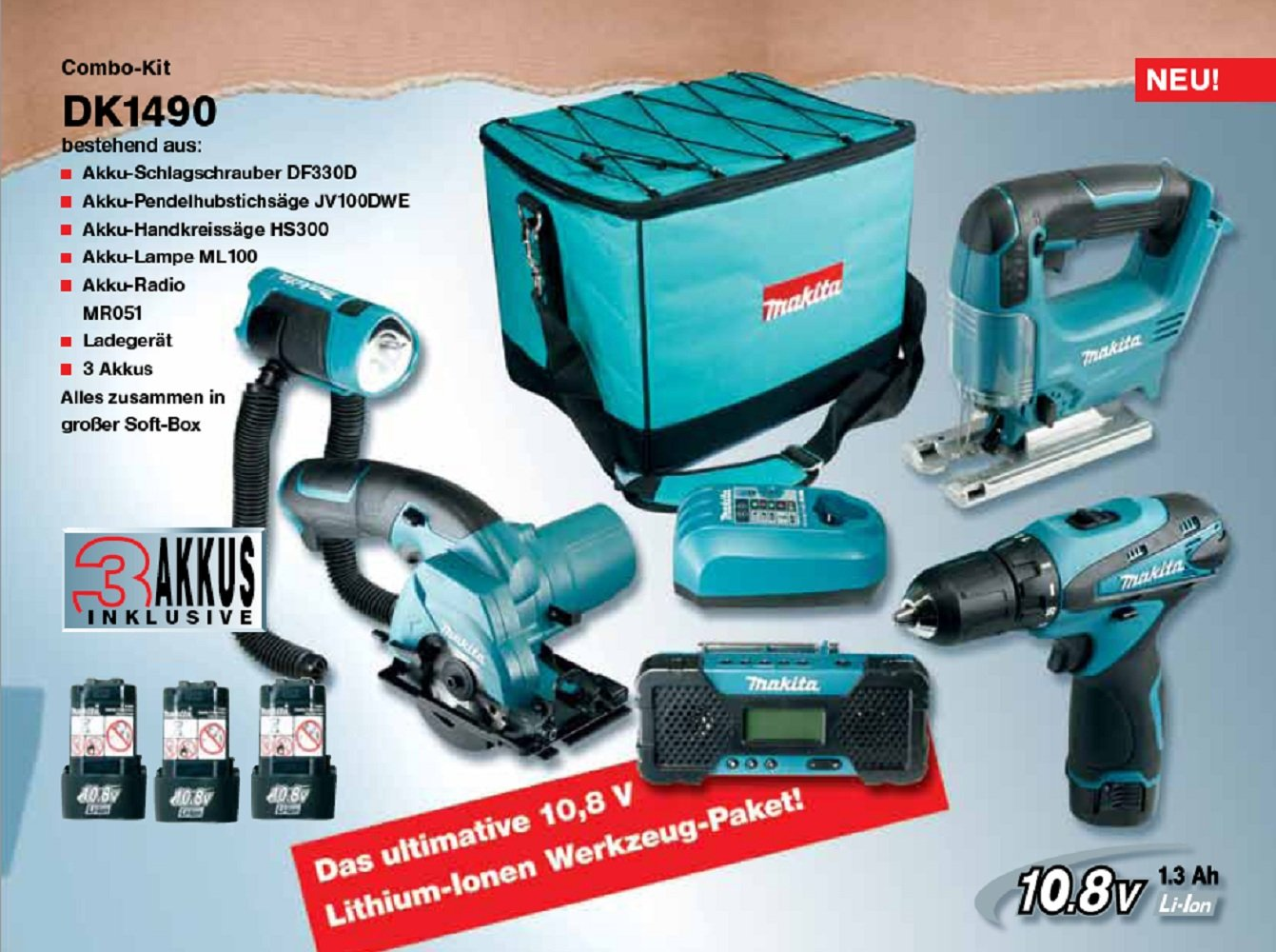 makita dk1490 combo kit 10 8 v df330d hs300 jv100 ml101 mr051 3 akkus und ladeger t meiner. Black Bedroom Furniture Sets. Home Design Ideas