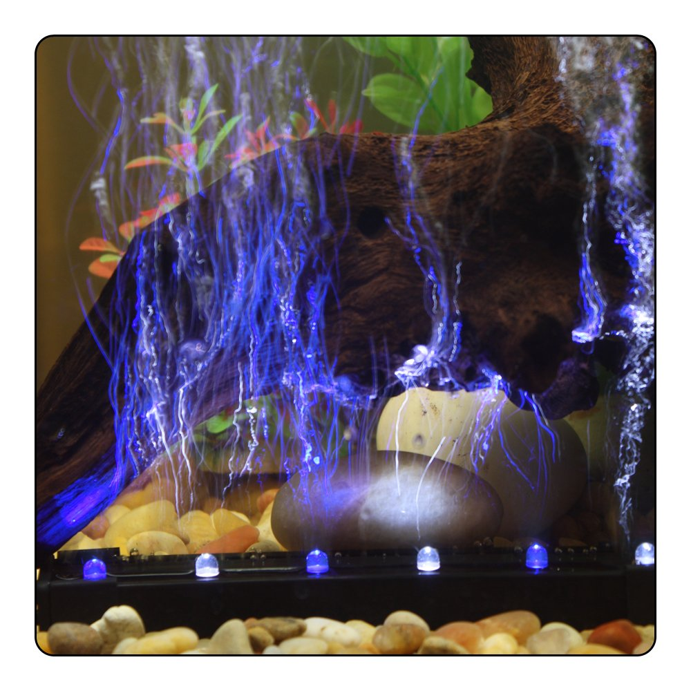 Lights And Airstone Aquarium 12 Inch Blue White LED Air Wands Great Night View   eBay