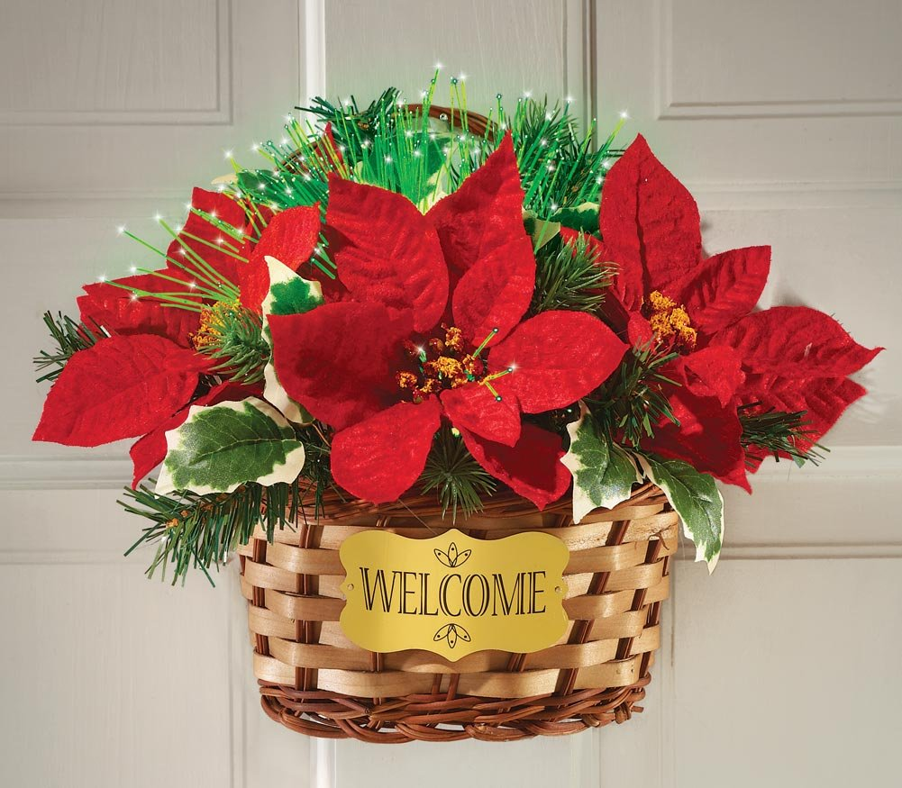 Fiber Optic Poinsettia Basket Wall Hanging Holiday Decor
