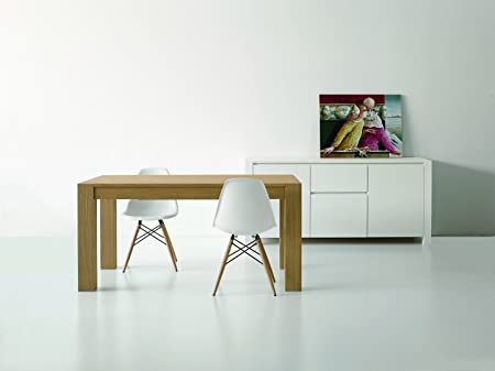 Extendible Table Brushed Look Oak Wood 160 x 90 Natural