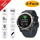 Kimilar Compatible Garmin Fenix 5 Smart Watch Screen Protector [3-Packs], Full Coverage Tempered Glass Screen Protector, [9H Hardness] [Ultra High Definition] [Scratch Resist] [No-Bubble] (Color: Fenix 5)
