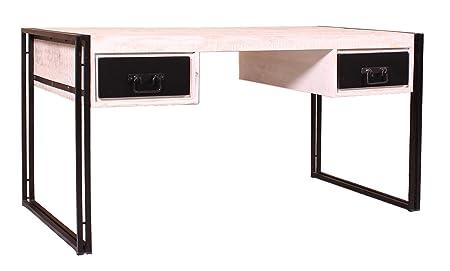 Schreib-Tisch weiß mit antikschwarz aus Mango 2 Schubladen 150x80x76 cm | White Santiago | Antiker Buro-Tisch weiss schwarz mit Altmetall und Gebrauchsspuren 150cm x 80cm x 76cm