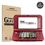 Akwox 2 in 1 9H Tempered Glass Top LCD Screen Protector with HD Clear Crystal PET Buttom LCD Screen Protective Filter for Nintendo 3DS XL /New 3DS XL