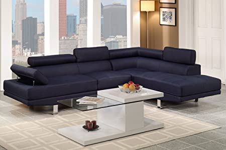 2-Piece Sectional Sofa in Dark blue by Poundex