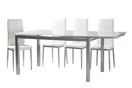 Conjunto de comedor 4 sillas tapizadas blanco Sara mesa blanco extensible 140-200x90