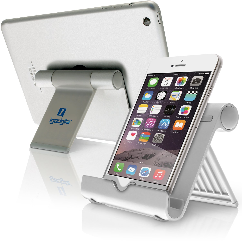 iGadgitz Black Multi-Angle Aluminium Adjustable Portable Tablet & Smartphone Folding Holder Stand (iPhones, iPad, Motorola Samsung Sony Xperia, HTC One Google Nexus Nokia Acer Sony Xperia Kobo etc)