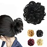 FESHFEN Synthetic Hair Bun Extensions Messy Hair Scrunchies Hair Pieces for Women Hair Donut Updo Ponytail (Color: A02- 1b Off Black, Tamaño: Normal)