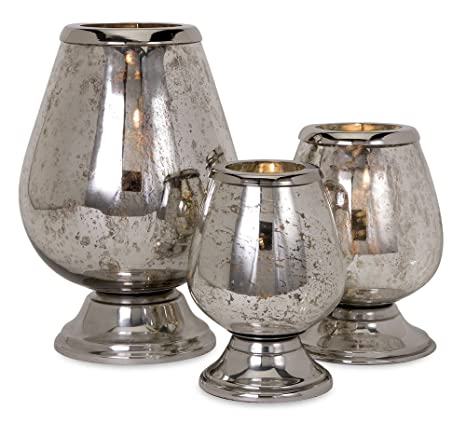 Silver Round Mercury Glass Candleholders - Set of 3 by Melrose