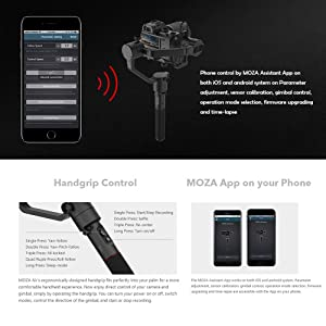 MOZA AirCross 3 Axis Handheld Gimbal for Mirrorless Camera up to 3.9lb//1800g Parameter Auto-Tuning Long Exposure Time-Lapse 4 Gimbal Mode 12hrs Runtime Multi-Control Methods