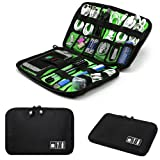 Electronics Accessories Organizer Bag,Portable Tech Gear Phone Accessories Storage Carrying Travel Case bag, Headphone Earphone Cable Organizer bag (M, Black) (Color: Black, Tamaño: M)