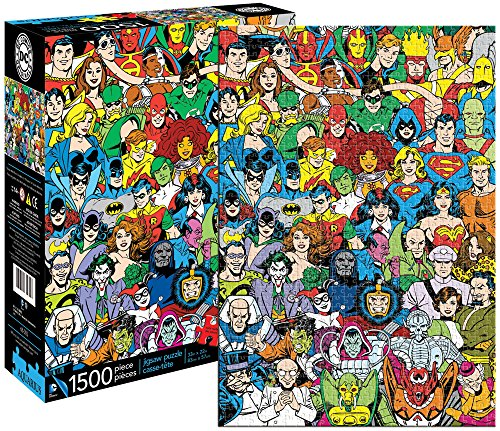 Dc Comics Official Retro Universe 1500 Piece Jigsaw Puzzle featuring retro super heroes/characters.